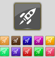 Rocket icon sign Set with eleven colored buttons vector image vector image