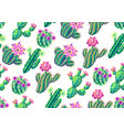 seamless pattern with cacti and flowers vector image vector image