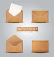 set kraft envelopes open and closed envelope vector image