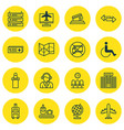 set of 16 airport icons includes credit card vector image vector image