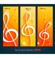 Set of banners with with music notes and key vector image vector image
