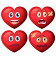 set of heart character vector image vector image