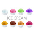 set of ice cream scoops of different colors and vector image