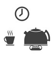 set of three icons of tea drinking - a kettle on vector image vector image