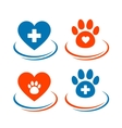 set of veterinary symbols heart cross and paw vector image vector image