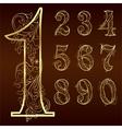 set vintage floral numbers vector image