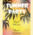 summer poster with palm tree silhouettes vector image vector image