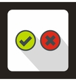 Tick and cross circle shape icon flat style vector image