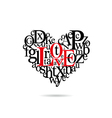 Typography heart silhouette vector image