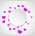 valentine paper frame with pink glitter hearts vector image vector image