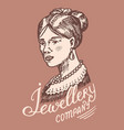 victorian lady label women s jewelry shop badge vector image
