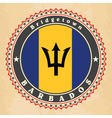 Vintage label cards of Barbados flag vector image vector image