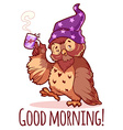 Woken owl in the nightcap with a cup of coffee vector image