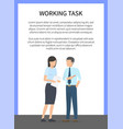 working task bright banner vector image vector image