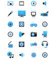 Turquoise black multimedia icons set vector image