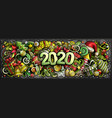 2020 doodles horizontal new year vector image