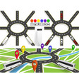 a set of roads with a circular motion markers on vector image vector image