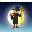 A witch holding a stick standing at the center of vector image