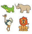 animals set krokodile lion ostrich rhinoceros vector image vector image
