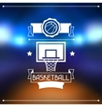 Background with basketball ball hoop and labels vector image vector image