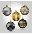 Black christmas ornaments hanging on gold thread vector image vector image