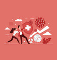 business people fight coronavirus with shield vector image
