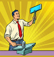 businessman blacksmith forges smartphone on anvil vector image vector image