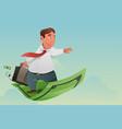businessman flying off money carpet vector image
