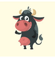 cartoon cute black cow vector image vector image