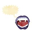 cartoon vampire mouth with speech bubble vector image vector image
