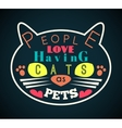 cat silhouette with yellow eyes and message vector image