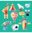 Circus entertainment icons set Flat style design vector image
