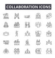 collaboration line icons for web and mobile design vector image vector image