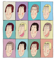 Colorful emotion faces icons set avatars doodles vector image vector image