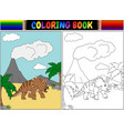 coloring book with triceratops cartoon vector image vector image