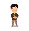 cute smiling happy boy take fresh eco pineapple vector image vector image