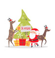 deers decorate fir tree christmas decor presents vector image vector image