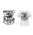 dragon t-shirt print mockup fantasy club emblem vector image