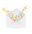 envelope and falling confetti vector image