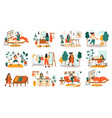 everyday woman routine female daily activities vector image vector image