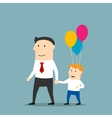 Father and son with balloons walking holding hands vector image