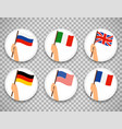 flag in hand circle icons set vector image vector image