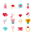 Flat Valentine Day Objects Set isolated over White vector image vector image