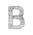 floral b letter vector image