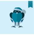 Funny Bird Bullfinch in Christmas Cap vector image vector image