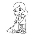 girl clean up garbage with broom and dust pan bw vector image vector image