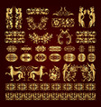 golden calligraphic ornaments and elements vector image