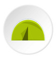green touristic camping tent icon circle vector image vector image