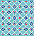 grid geometric seamless blue pattern pixel blocks vector image vector image