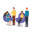 group people using technology devices vector image vector image